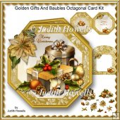 Golden Gifts And Baubles Octagonal Card Kit