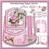 Pink Rose Easel Topper Card Kit