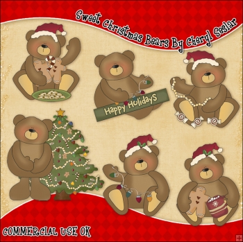 Sweet Christmas Bears ClipArt Graphic Collection