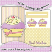 Yellow Cupcake Best Wishes PDF Penny Slider Card Download