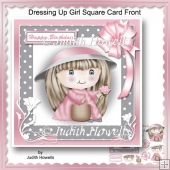 Dressing Up Girl Square Card Front