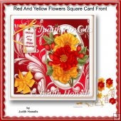 Red And Yellow Flowers Square Card Front