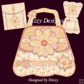 Flower and Buckle Bag Shape Card