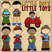 Little Boys Little Toys ClipArt Graphic Collection