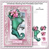 Christmas Stocking And Poinsettia Card Front