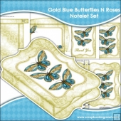 Gold Blue Butterflies N Roses Notelet Set
