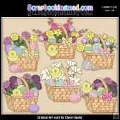 Beautiful Easter Baskets ClipArt Graphic Collection