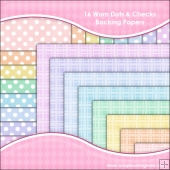16 Worn Dots & Checks Backing Paper Download