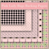 Pink Lady Bugs 5 Backing Papers Download (C46)