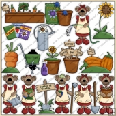 Mama Bears Garden ClipArt Graphic Collection