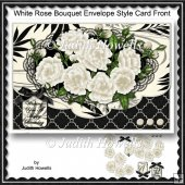 White Rose Bouquet Envelope Style Card Front