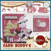 Mooey Christmas Decoupage Shaped Fold Card Kit