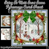 Going To Mass Snow Scene Pyramage Card Front