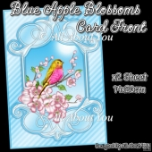 Blue Apple Blossoms Card Front With Insert Panel