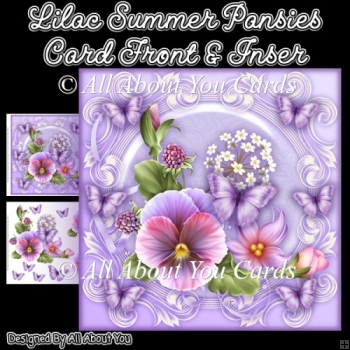 Lilac Summer Pansies 8x8 Fancy Card Front