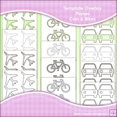 Template Overlay Planes, Cars & Bikes Sheet