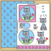 Spring Cat PDF Decoupage Download