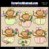 Baby Monkey Teacups ClipArt Graphic Collection