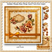 Golden Roses Bow Wrap Card Front And Insert