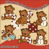 Tattered Teddies Christmas Cheer ClipArt Graphic Collection