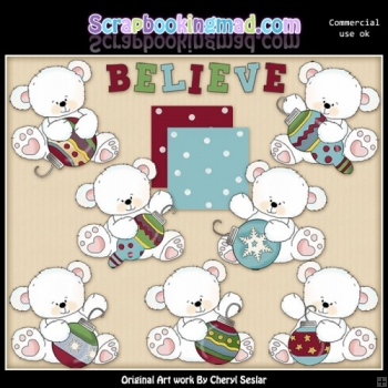 Ornament Polar Bears ClipArt Collection