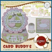 A Perfect Pair Decoupage Scalloped Plate Easel Card Kit
