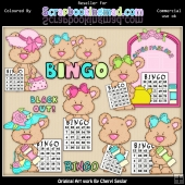 RESALE ART WORK - Shorty Bears Bingo ClipArt Collection