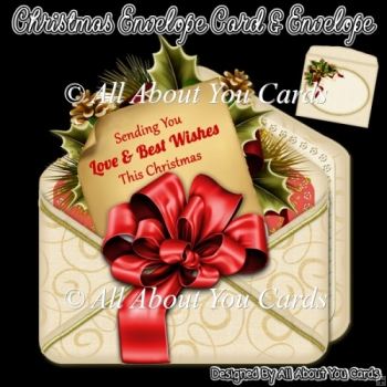 Red Christmas Envelope Card & Envelope