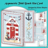 Asymmetric Fold Beach Hut Card