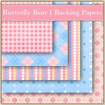 5 Butterfly Bears Backing Papers Download Set 1