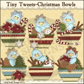 Tiny Tweets Christmas Bowls ClipArt Graphic Collection