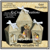 Lantern Shaped Gift Boxes/Luminaries - Gold Poinsettias