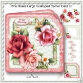 Pink Roses Large Scalloped Corner Card Kit