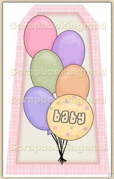 Baby Shower - Pink Balloons Decorative Tag