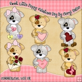 Sweet Little Puppy Valentines Day ClipArt Graphic Collection