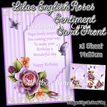 Lilac English Roses Sentiment Card Front