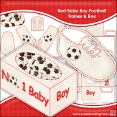 Red Baby Boy Football Trainer & Gift Box Keepsake