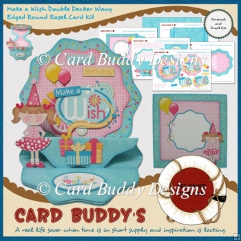 Make a Wish Double Decker Wavy Edged Round Easel Card Kit