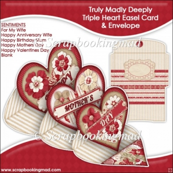 Truly Madly Deeply Triple Heart Easel Card