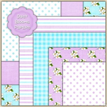 7 Daisy Blooms Backing Papers Download (c249)