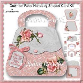 Downton Rose Handbag Shaped Card Kit
