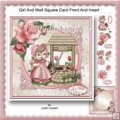 Girl And Well Square Card Front And Insert