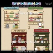 Country Kitchen Hutches ClipArt Collection