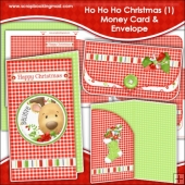 Ho Ho Ho Christmas 1 Money Card & Envelope