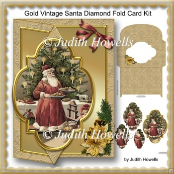 Gold Vintage Santa Diamond Fold Card Kit