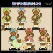 Mama Bear Loves Her Cubs ClipArt Collection