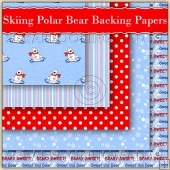 5 Skiing Polar Bear Backing Papers Download (C191)