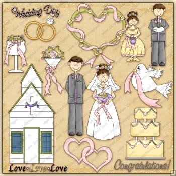 Country Wedding ClipArt Graphic Collection