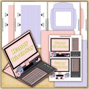 Pink Happy Birthday Computer PDF Easel Card Download