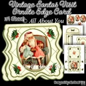 Vintage Santas Visit Ornate Edge Card